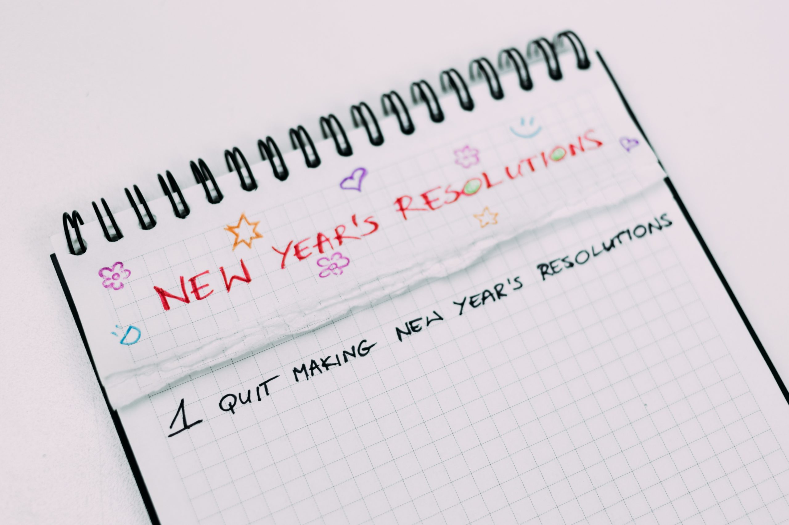 """Notebook with a list of new year's resolutions. Only one item is on the list """"quit making new year's resolutions""""."""
