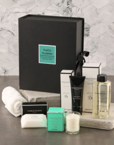Spoil them with this bath and body hamper that holds a Charlotte Rhys candle (50g), soap bar (100g), foam bath (500ml), hand lotion (300ml) all in the sensational St Thomas fragrance as well as a Colibri Imperial white face cloth.