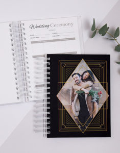 Button for personalised gold art wedding journal