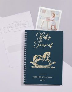 Button for the personalised rocking horse baby journal